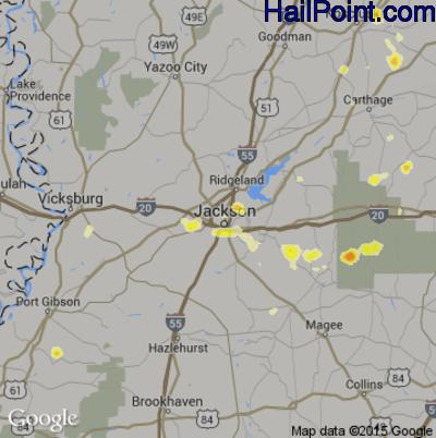 Hail Map for Jackson, MS Region on June 10, 2015