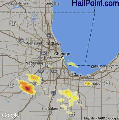 Hail Map for Chicago, IL Region on June 10, 2015