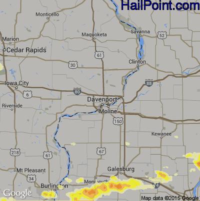 Hail Map for Davenport, IA Region on June 10, 2015