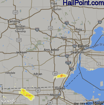 Hail Map for Ann Arbor, MI Region on June 10, 2015