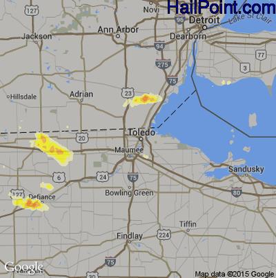 Hail Map for Toledo, OH Region on June 10, 2015