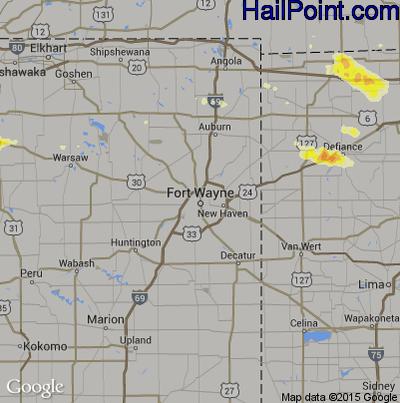 Hail Map for Fort Wayne, IN Region on June 11, 2015