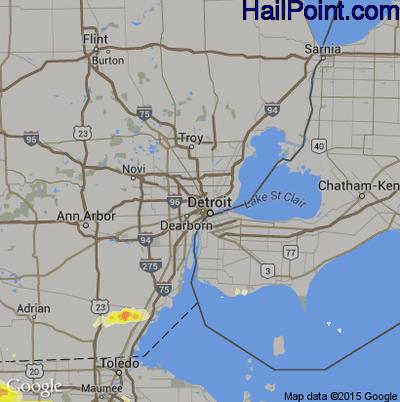 Hail Map for Detroit, MI Region on June 11, 2015