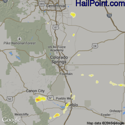 Hail Map for Colorado Springs, CO Region on June 11, 2015