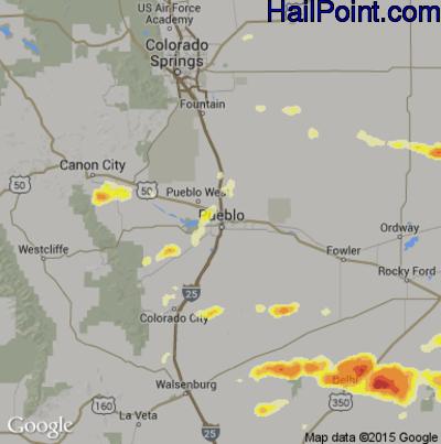 Hail Map for Pueblo, CO Region on June 11, 2015
