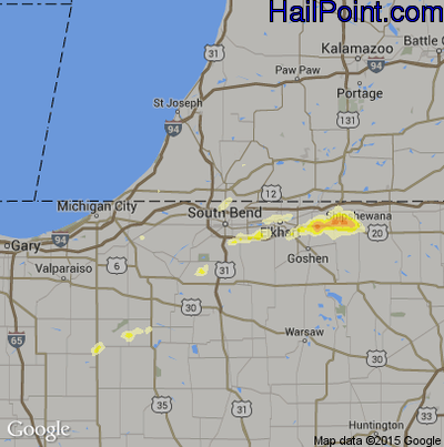 Hail Map for South Bend, IN Region on June 11, 2015