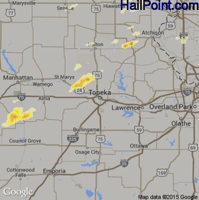 Hail Map for Topeka, KS Region on June 11, 2015