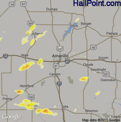 Hail Map for Amarillo, TX Region on June 12, 2015