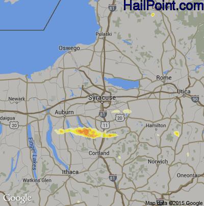 Hail Map for Syracuse, NY Region on June 12, 2015