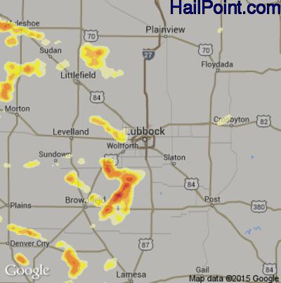 Hail Map for Lubbock, TX Region on June 12, 2015