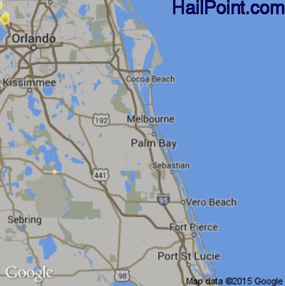 Hail Map for Palm Bay, FL Region on June 12, 2015