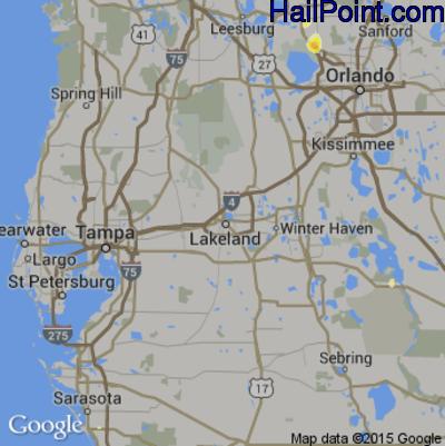 Hail Map for Lakeland, FL Region on June 12, 2015
