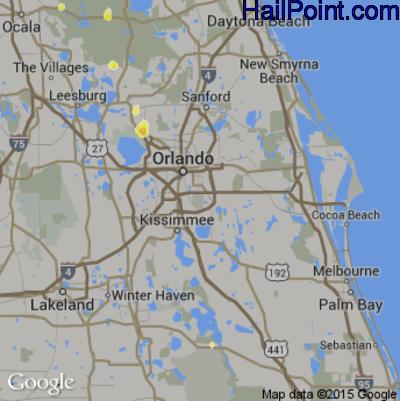 Hail Map for Orlando, FL Region on June 12, 2015