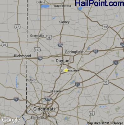 Hail Map for Dayton, OH Region on June 12, 2015
