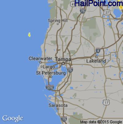 Hail Map for Tampa, FL Region on June 12, 2015