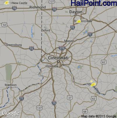 Hail Map for Cincinnati, OH Region on June 12, 2015