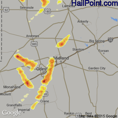 Hail Map for Midland, TX Region on June 12, 2015