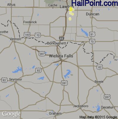 Hail Map for Wichita Falls, TX Region on June 13, 2015