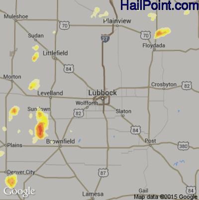 Hail Map for Lubbock, TX Region on June 13, 2015
