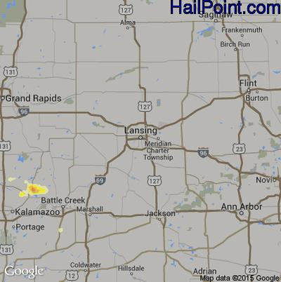 Hail Map for Lansing, MI Region on June 13, 2015