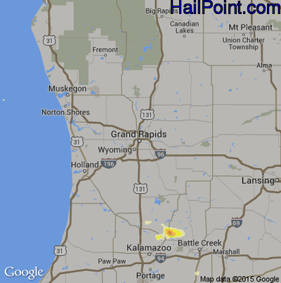 Hail Map for Grand Rapids, MI Region on June 13, 2015