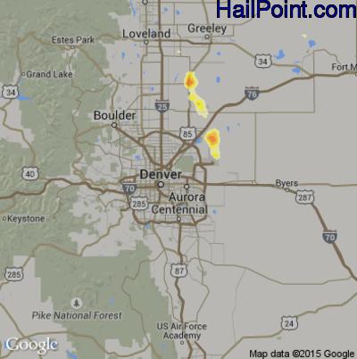 Hail Map for Denver, CO Region on June 13, 2015