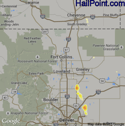 Hail Map for Fort Collins, CO Region on June 13, 2015