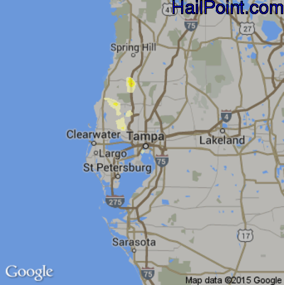 Hail Map for Tampa, FL Region on June 15, 2015