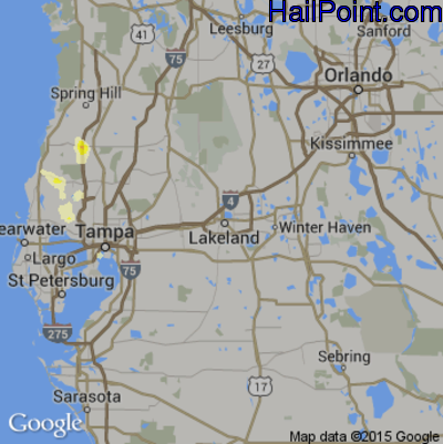 Hail Map for Lakeland, FL Region on June 15, 2015