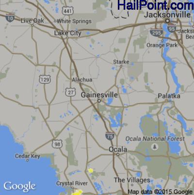 Hail Map for Gainesville, FL Region on June 16, 2015