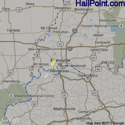 Hail Map for Evansville, IN Region on June 16, 2015