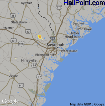 Hail Map for Savannah, GA Region on June 17, 2015