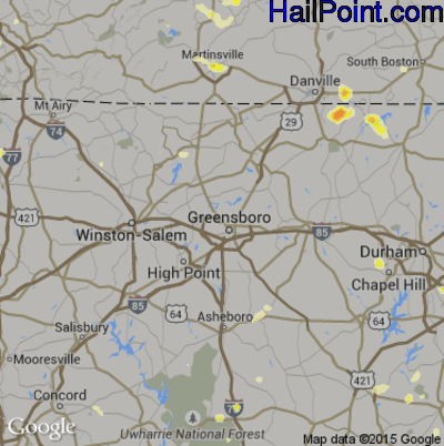 Hail Map for Greensboro, NC Region on June 17, 2015