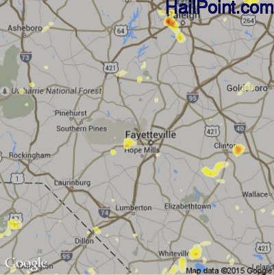 Hail Map for Fayetteville, NC Region on June 17, 2015