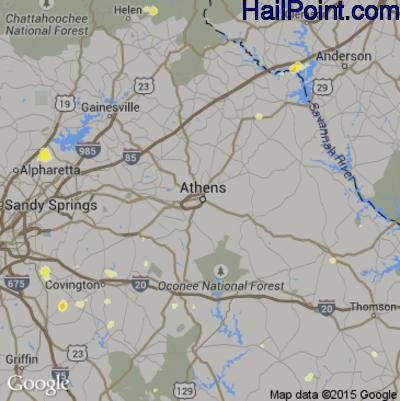 Hail Map for Athens, GA Region on June 18, 2015
