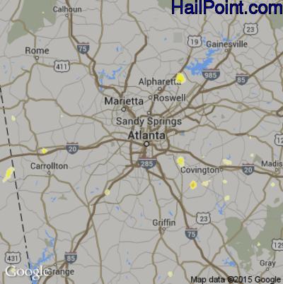 Hail Map for Atlanta, GA Region on June 18, 2015