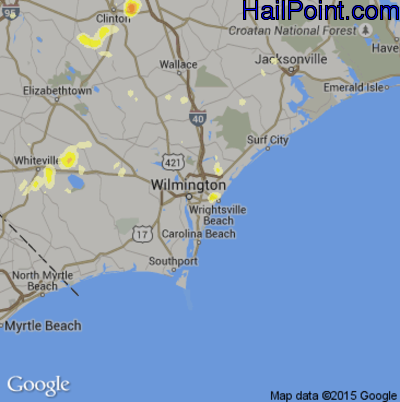 Hail Map for Wilmington, NC Region on June 18, 2015