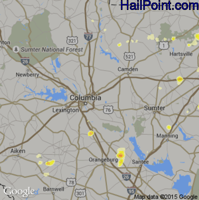 Hail Map for Columbia, SC Region on June 18, 2015