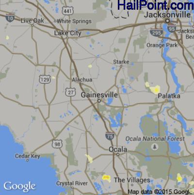 Hail Map for Gainesville, FL Region on June 18, 2015