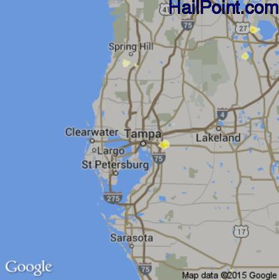 Hail Map for Tampa, FL Region on June 18, 2015