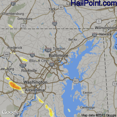 Hail Map for Baltimore, MD Region on June 18, 2015