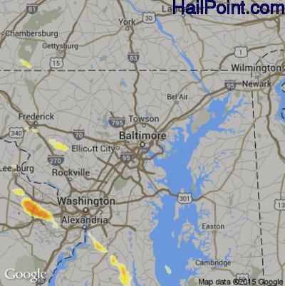 Hail Map for Baltimore, MD Region on June 18, 2015