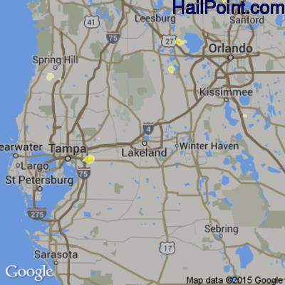 Hail Map for Lakeland, FL Region on June 18, 2015