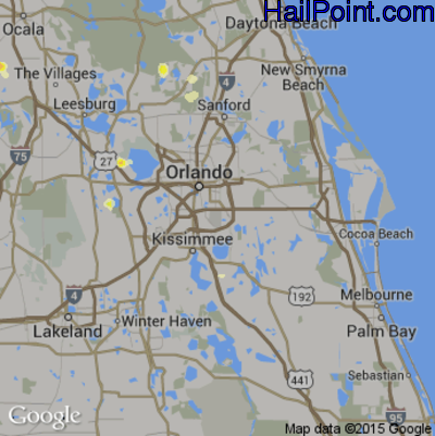 Hail Map for Orlando, FL Region on June 18, 2015