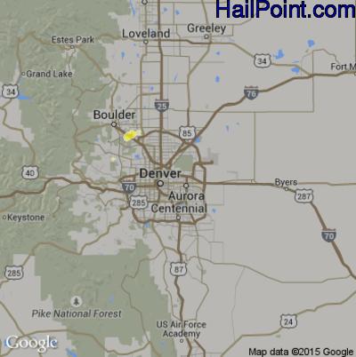 Hail Map for Denver, CO Region on June 19, 2015