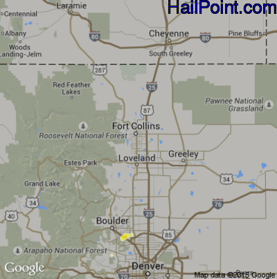 Hail Map for Fort Collins, CO Region on June 19, 2015