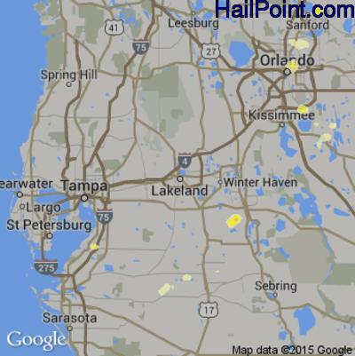 Hail Map for Lakeland, FL Region on June 19, 2015