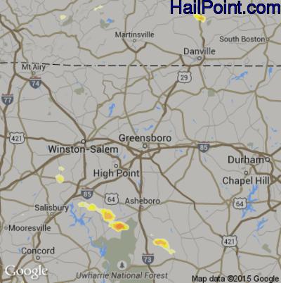 Hail Map for Greensboro, NC Region on June 19, 2015