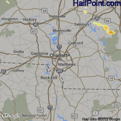 Hail Map for Charlotte, NC Region on June 19, 2015