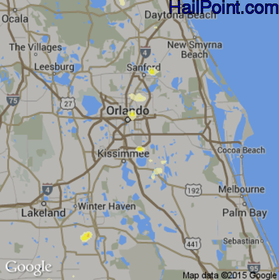 Hail Map for Orlando, FL Region on June 19, 2015